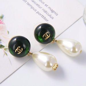 green pearl earring
